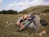 Taking a small break leaning on a warm rock