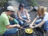 Campfire cooking for breakfast before hitting the trail